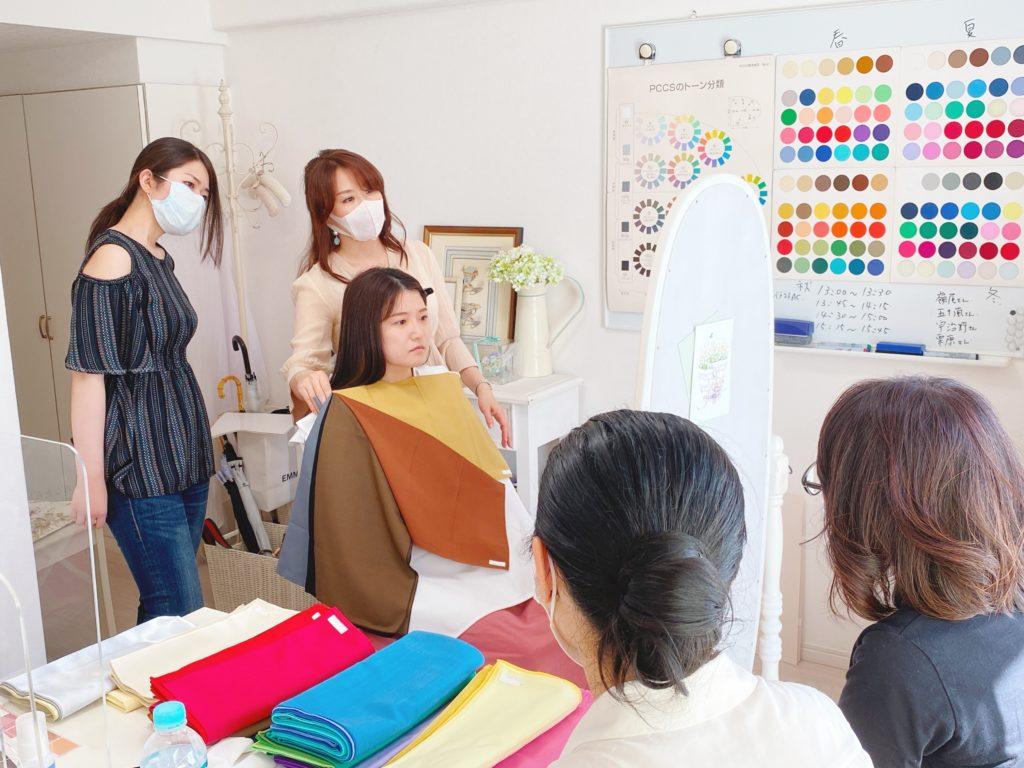 東京・青山のパーソナルカラーアナリスト養成講座 授業風景 サロン・ド・ルミエール