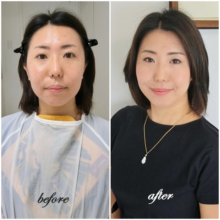 東京・青山のパーソナルカラー診断&フルメイクアップレッスンbefore after